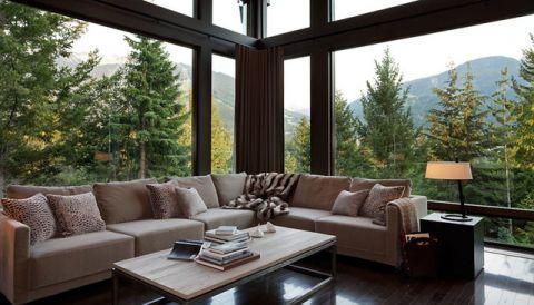 客厅咖啡色简欧风格装潢图片