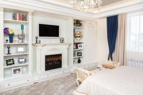 卧室白色书架简欧风格装修设计图片
