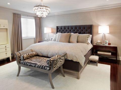 卧室米色背景墙简欧风格效果图