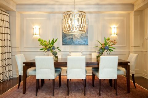 餐厅米色餐桌简欧风格装饰效果图