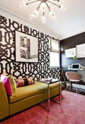 书房黑色背景墙简欧风格装潢效果图