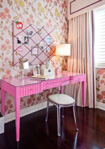 儿童房粉色书桌简欧风格装修图片