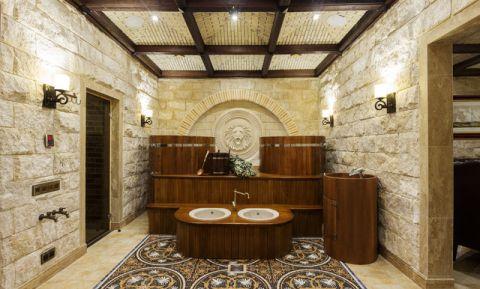 卫生间咖啡色梳妆台简欧风格装饰设计图片