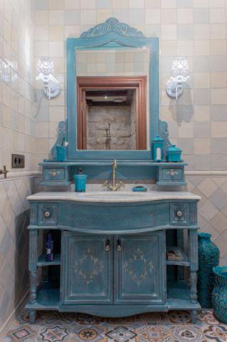 卫生间蓝色梳妆台简欧风格效果图
