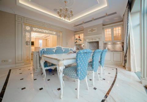 餐厅蓝色餐桌简欧风格装修效果图