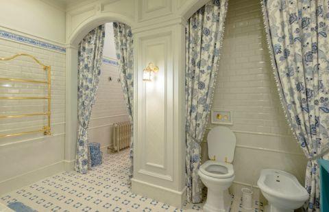 卫生间蓝色窗帘简欧风格装饰效果图