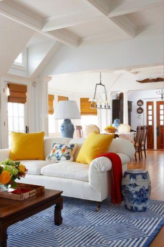 客厅彩色沙发简欧风格装修设计图片