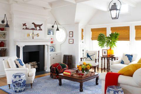 客厅彩色茶几简欧风格装饰设计图片