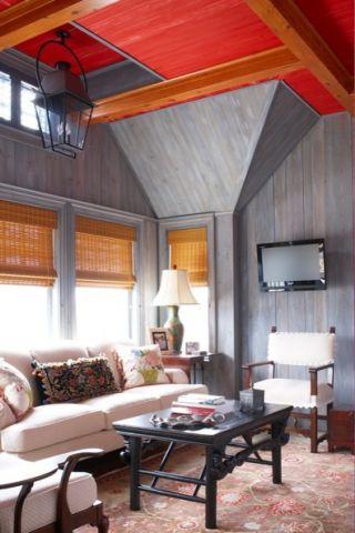 客厅灰色背景墙简欧风格装潢效果图