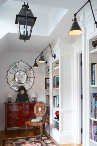 书房白色书架简欧风格装修图片