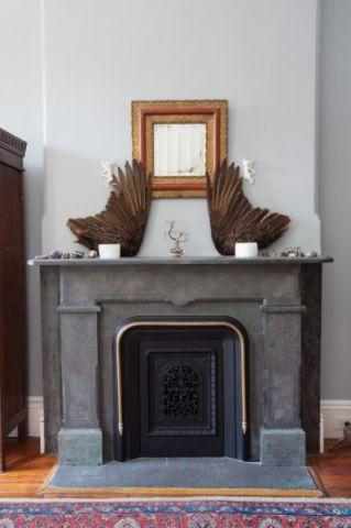 客厅蓝色背景墙简欧风格装饰设计图片