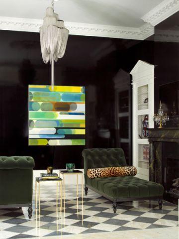 客厅黑色细节简欧风格装饰效果图