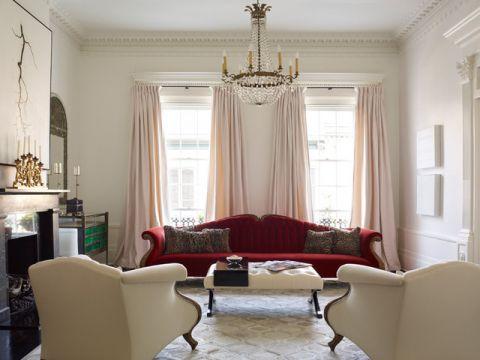 客厅红色沙发简欧风格装潢图片