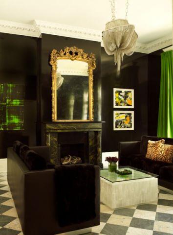 客厅绿色背景墙简欧风格装修设计图片