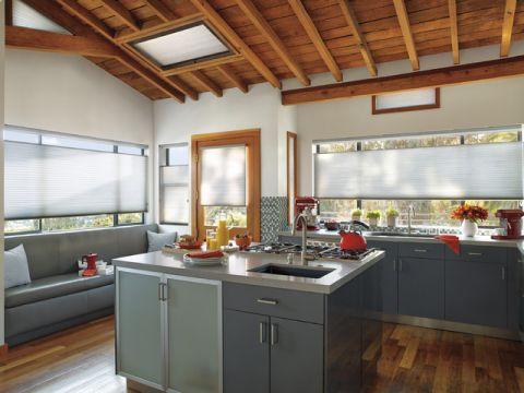 厨房灰色厨房岛台简欧风格装饰图片