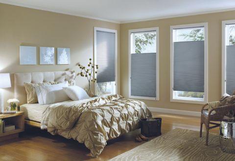 卧室米色窗台简欧风格装潢图片
