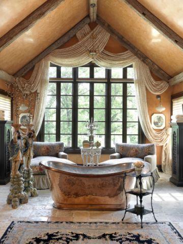 浴室咖啡色浴缸简欧风格效果图