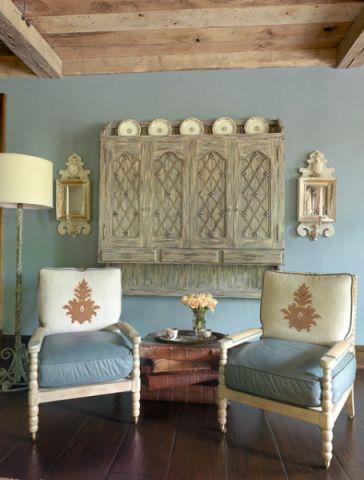 客厅蓝色沙发简欧风格装潢效果图
