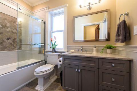 卫生间咖啡色背景墙简欧风格装饰效果图