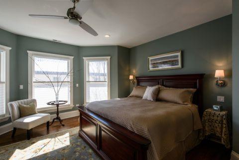 卧室绿色背景墙简欧风格装潢图片