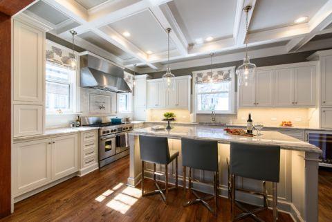 厨房咖啡色厨房岛台简欧风格装修设计图片