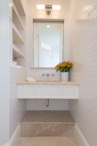 卫生间白色梳妆台简欧风格装潢设计图片