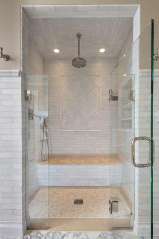 卫生间米色背景墙简欧风格装潢效果图