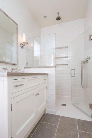 卫生间白色梳妆台简欧风格装饰图片