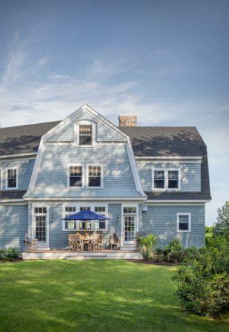 外景蓝色外墙简欧风格装修设计图片