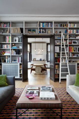 客厅书架简欧风格装修图片
