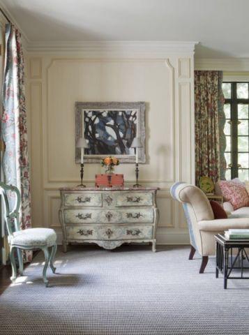 客厅米色背景墙简欧风格装修效果图