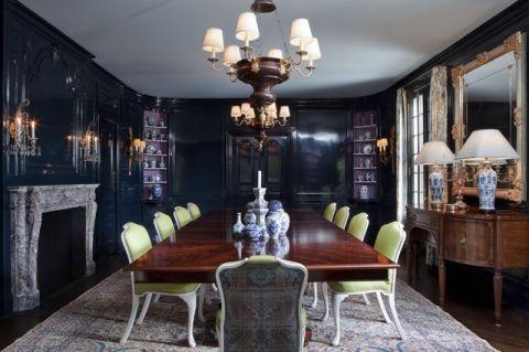 餐厅蓝色餐桌简欧风格装饰图片
