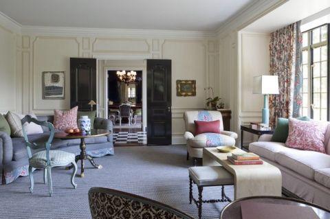 客厅米色背景墙简欧风格装修设计图片