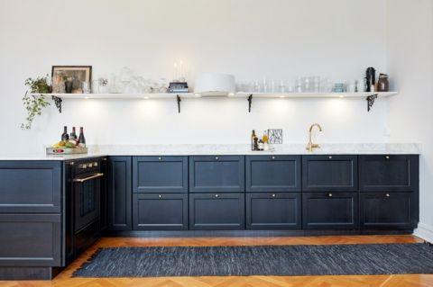 厨房蓝色橱柜简欧风格装修图片