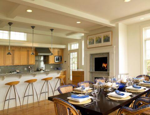 厨房吧台简欧风格装修图片