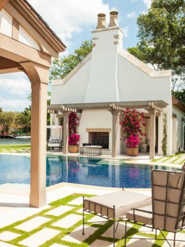 外景泳池简欧风格装潢效果图