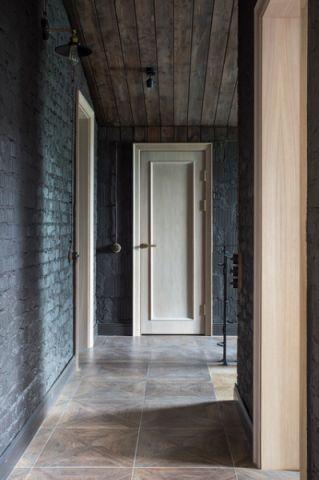 客厅蓝色走廊混搭风格装潢设计图片
