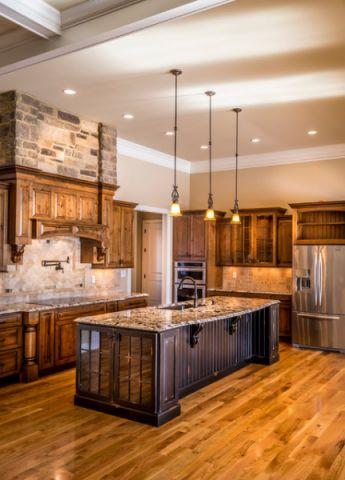 厨房咖啡色橱柜混搭风格装饰设计图片