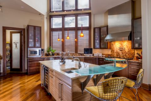 厨房红色细节混搭风格装潢效果图