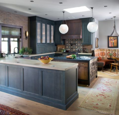 厨房蓝色细节混搭风格装饰设计图片
