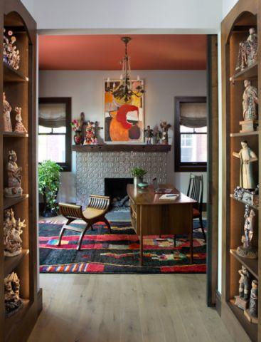 书房灰色背景墙混搭风格装修效果图