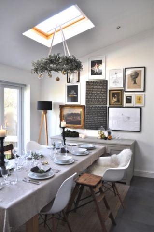 餐厅背景墙混搭风格装饰效果图