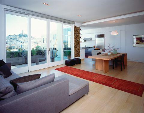 客厅白色推拉门现代风格装修设计图片