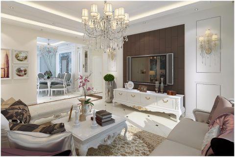 金色地带89平简欧风格三居室装修效果图
