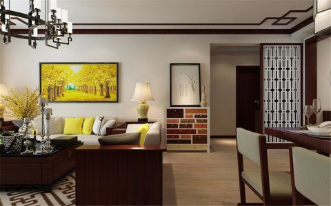 客厅隔断中式风格装修效果图