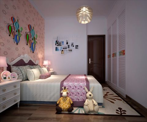 儿童房背景墙现代简约风格效果图