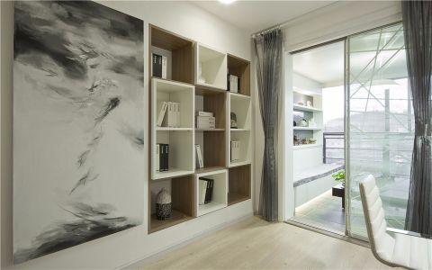 书房背景墙现代简约风格装修效果图