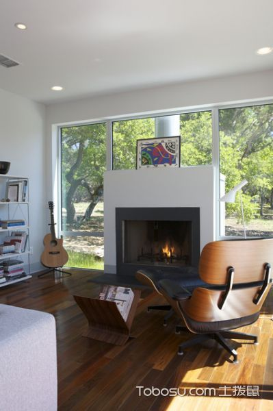 客厅白色吊顶现代风格装饰图片