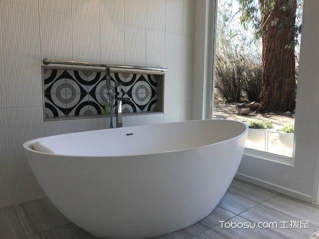浴室白色浴缸现代风格装饰设计图片