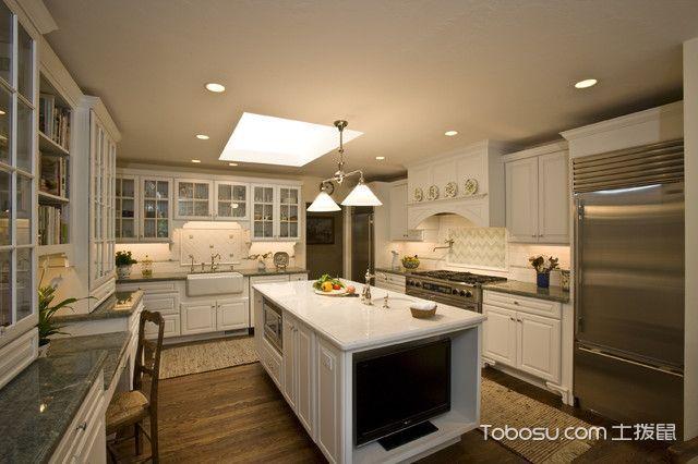 厨房咖啡色吊顶美式风格装饰设计图片